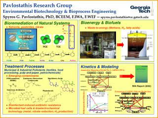 Pavlostathis Research Group Environmental Biotechnology & Bioprocess Engineering