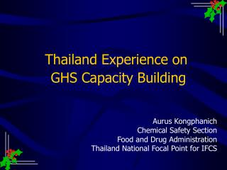 Thailand Experience on  GHS Capacity Building