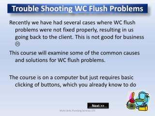 Trouble Shooting WC Flush Problems