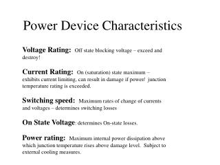Power Device Characteristics