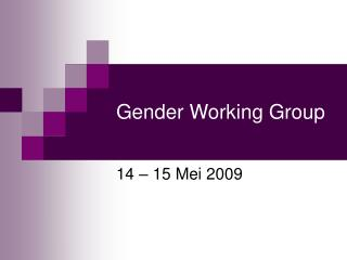 Gender Working Group
