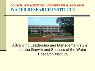 COUNCIL FOR SCIENTIFIC AND INDUSTRIAL RESEARCH WATER RESEARCH INSTITUTE