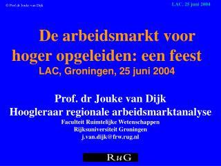 De arbeidsmarkt voor hoger opgeleiden: een feest LAC, Groningen ,  25 juni 2004