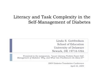 Literacy and Task Complexity in the Self-Management of Diabetes