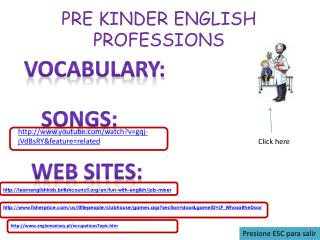 PRE KINDER ENGLISH PROFESSIONS