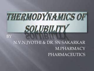 Thermodynamics of solubility