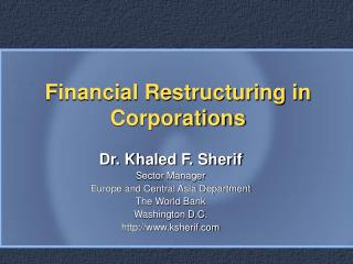 Financial Restructuring in Corporations