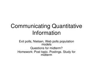 Communicating Quantitative Information