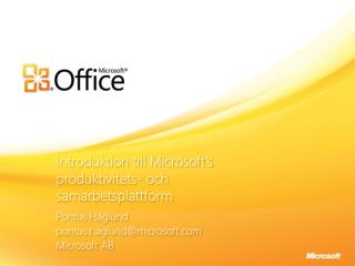 Introduktion till Microsoft's produktivitets- och  samarbetsplattform