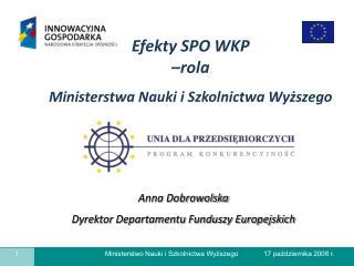 Anna Dobrowolska Dyrektor Departamentu Funduszy Europejskich