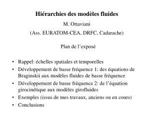 Hiérarchies des modèles fluides M. Ottaviani (Ass. EURATOM-CEA, DRFC, Cadarache)