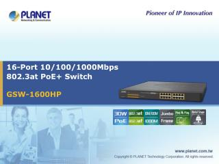 16-Port 10/100/1000Mbps  802.3at PoE+ Switch
