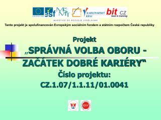 """Projekt """" SPRÁVNÁ VOLBA OBORU -  ZAČÁTEK DOBRÉ KARIÉRY"""" Číslo projektu: CZ.1.07/1.1.11/01.0041"""