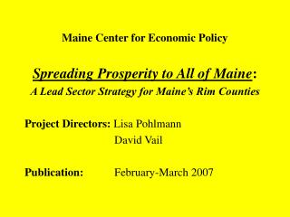 Maine Center for Economic Policy