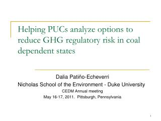 Helping PUCs analyze options to reduce GHG regulatory risk in coal dependent states