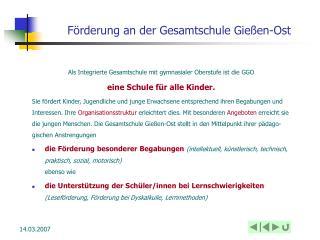 Förderung an der Gesamtschule Gießen-Ost