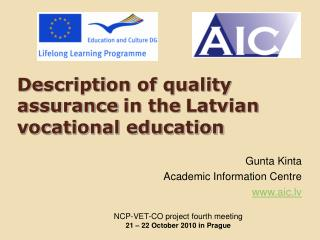 Description of quality assurance in the Latvian vocational education