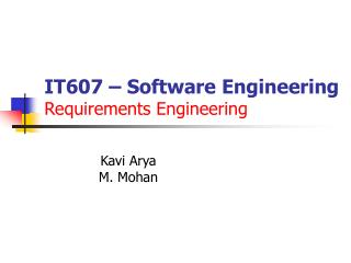 IT607   Software Engineering Requirements Engineering
