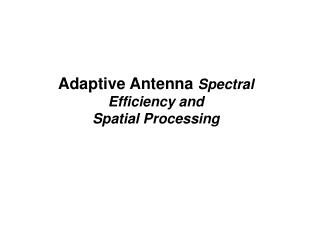 Adaptive Antenna  Spectral Efficiency and  Spatial Processing