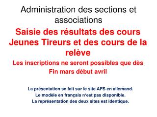 Administration des sections et associations