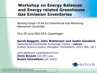 Workshop on Energy Balances and Energy related Greenhouse Gas Emission Inventories