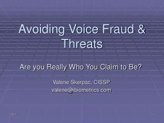 Avoiding Voice Fraud & Threats