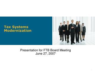 Tax Systems Modernization