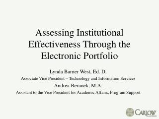 Assessing Institutional Effectiveness Through the Electronic Portfolio