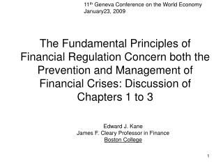 11 th  Geneva Conference on the World Economy January23, 2009