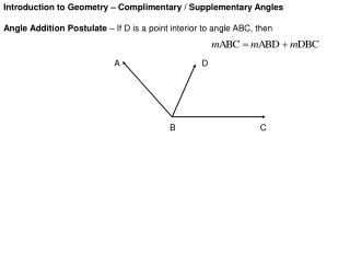 Introduction to Geometry – Complimentary / Supplementary Angles