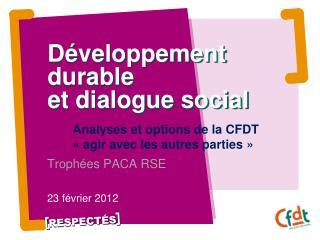 Développement durable  et dialogue social
