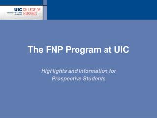 The FNP Program at UIC