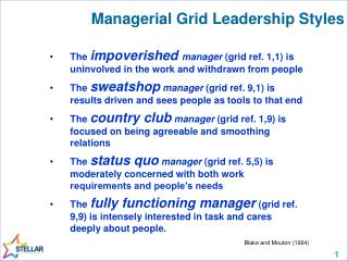 Managerial Grid Leadership Styles