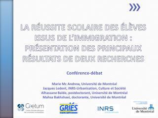 Conférence-débat Marie McAndrew, Université de Montréal