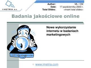 Badania jako ś ciowe online