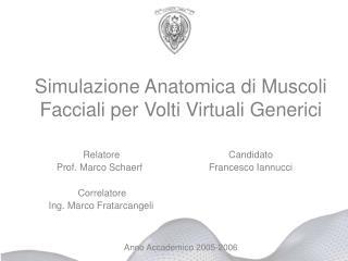 Simulazione Anatomica di Muscoli Facciali per Volti Virtuali Generici