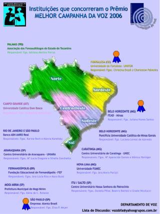 Instituições que concorreram o Prêmio MELHOR CAMPANHA DA VOZ 2006