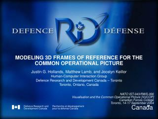 MODELING 3D FRAMES OF REFERENCE FOR THE COMMON OPERATIONAL PICTURE