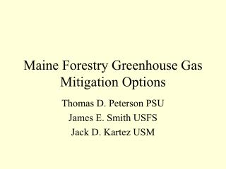 Maine Forestry Greenhouse Gas Mitigation Options