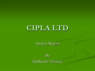 CIPLA LTD