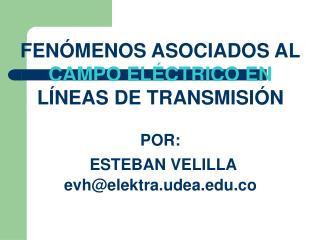 FENÓMENOS ASOCIADOS AL CAMPO ELÉCTRICO EN LÍNEAS DE TRANSMISIÓN POR: ESTEBAN VELILLA