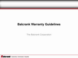 Balcrank Warranty Guidelines