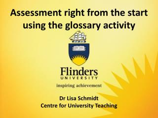 Assessment right from the start using the glossary activity