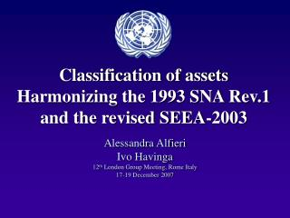 Classification of assets  Harmonizing the 1993 SNA Rev.1 and the revised SEEA-2003