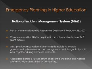 Emergency Planning in Higher Education