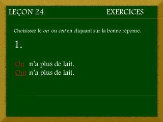Leçon 24Exercices