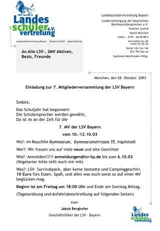 Landesschülervertretung Bayern     Postfach 2oo518     8ooo5 München