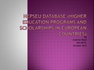 HEPSEU Database (Higher Education Programs and Scholarships in European Countries)