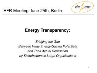 EFR Meeting June 25th, Berlin