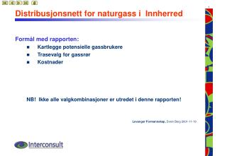Distribusjonsnett for naturgass i  Innherred